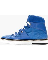 Jimmy Choo Blue Python Embossed Barlowe High_top Sneakers - Lyst