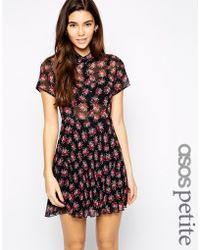 Asos Exclusive Shirt Dress With Pleated Skirt In Floral Print - Lyst