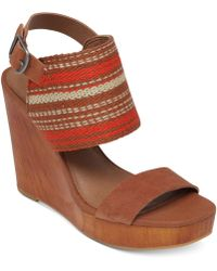 Lucky Brand Women'S Lapaloma Platform Wedge Sandals - Lyst