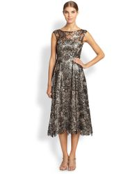 Kay Unger Lace Overlay Metallic Dress - Lyst