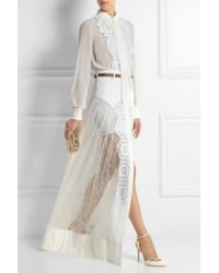 Alessandra Rich Chiffon and Lace Bodysuit and Maxi Skirt Set - Lyst