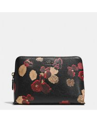 Coach Medium Cosmetic Case in Floral Print Leather - Lyst