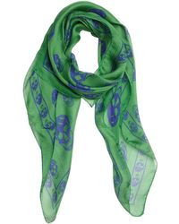 Alexander McQueen Green and Blue Silk Skull Printed Scarf - Lyst