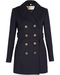 Burberry Brit Navy Fitted Peacoat - Lyst