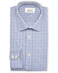 Ted Baker Grey & Navy Timeless Check Classic Fit Dress Shirt - Lyst
