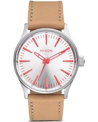 Nixon 'The Sentry 38 Leather' Watch beige - Lyst