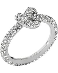Michael Kors Silver-Tone Knotted Encrusted Ring - Lyst