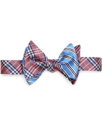 Brooks Brothers Light Blue Mini Bb1 Stripe Print with Pink Bb1 Plaid Reversible Bow Tie - Lyst