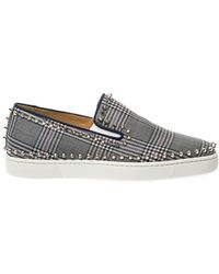 Christian Louboutin Pik Boat Studded Check Trainers - Lyst