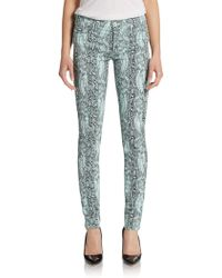 Hudson Nico Snakeskin Printed Skinny Jeans - Lyst
