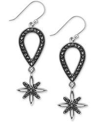 Lucky Brand Silvertone Flower Drop Earrings - Lyst