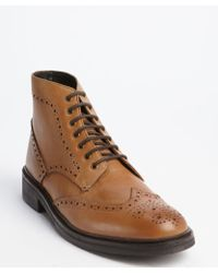 Ben Sherman Tan Tooled Leather Wingtip 'Finley' Ankle Boots - Lyst