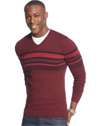 Alfani - Striped V-neck Sweater - Lyst