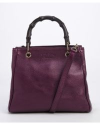 Gucci Purple Metallic Leather Convertible Top Handle Tote - Lyst
