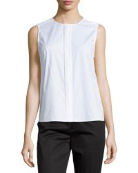 J Brand Sleeveless Concealed-Placket Blouse - Lyst