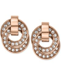 Michael Kors Rose Goldtone Crystal Pavè Interlocked Ring Drop Earrings - Lyst