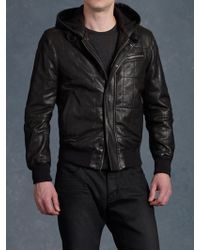 John Varvatos Hooded Bomber Jacket - Lyst