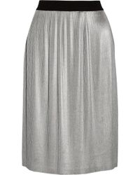 Enza Costa Metallic Pleated Woven Skirt - Lyst