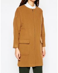 Helene Berman | Camel Zip Front Collarless Coat | Lyst
