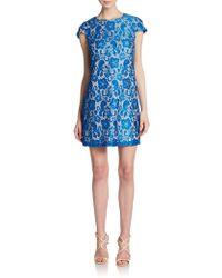 Saks Fifth Avenue Black Label Lace Cap-Sleeve Shift Dress - Lyst