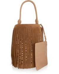 Burberry Prorsum - Fringed Suede And Leopard-print Calf Hair Tote - Lyst