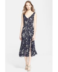 Burberry Brit 'Dolores' Print Mulberry Silk Midi Dress - Lyst