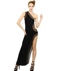 Jean Paul Gaultier Stretch Viscose Knit Long Dress - Lyst