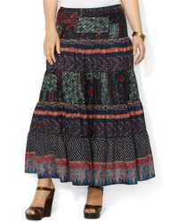 Lauren by Ralph Lauren Plus Geometric Tiered Cotton Skirt - Lyst