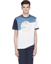 Junya Watanabe Blue And White Printed T_Shirt - Lyst