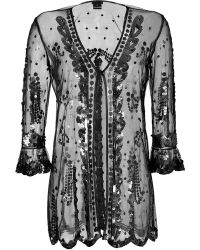 Anna Sui Sequined Sheer Cardigan - Lyst