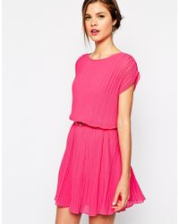 Oasis Pink Pleated Dress - Lyst