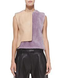 3.1 Phillip Lim Transit Curve Leather  Fur Vest - Lyst