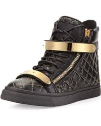Giuseppe Zanotti Quilted Leather Hightop Sneaker - Lyst
