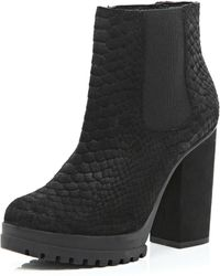 River Island Black Suede Snake Print Ankle Boots - Lyst
