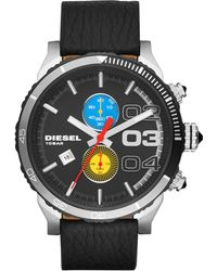 Diesel Chronograph Double Down 48 Black Leather Strap Watch 48mm - Lyst