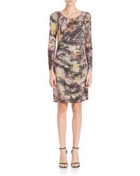 Kay Unger | Printed Side-gathered Dress | Lyst