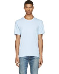 T By Alexander Wang Blue Pima Cotton T_Shirt - Lyst
