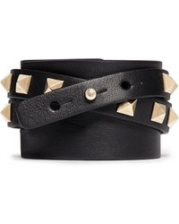 Valentino Rockstud Double Wrap Leather Bracelet - Lyst