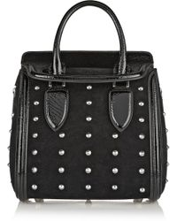Alexander McQueen The Heroine Small Studded Suede and Patent-leather Shoulder Bag - Lyst