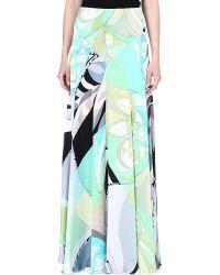 Emilio Pucci Printed Silk Maxi Skirt Green - Lyst