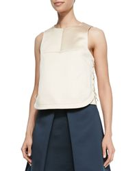 Tibi Lace-up Sleeveless Satin Top - Lyst