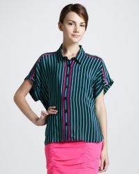 Nanette Lepore Striped Buttondown Blouse - Lyst