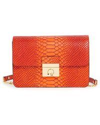 Milly Women'S 'Mini Sullivan - Ombre' Snake Embossed Leather Crossbody Bag - Orange - Lyst