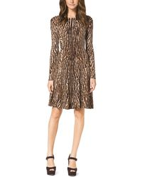 Michael Kors Michael Flared Leopardprint Dress - Lyst