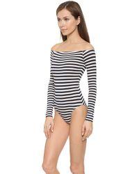 Capulet - Off Shoulder Leotard - Navy Stripe - Lyst