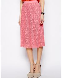 Asos Midi Skirt In Pleated Lace - Lyst