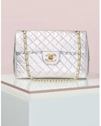 Chanel | Vintage Silver Leather Jumbo Bag | Lyst