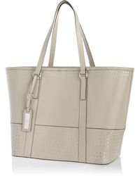 River Island Grey Leather Studded Panel Tote Bag - Lyst