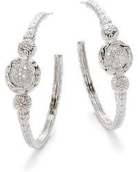 John Hardy Diamond Sterling Silver Hoop Earrings - Lyst