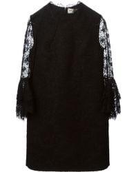 Saint Laurent Floral Lace Mini Dress - Lyst